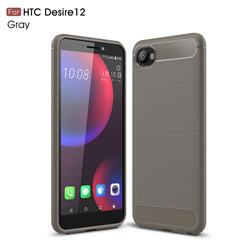 Luxury Carbon Fiber Brushed Wire Drawing Silicone TPU Back Cover for HTC Desire 12(5.5 inch) - Gray