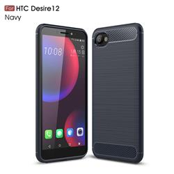 Luxury Carbon Fiber Brushed Wire Drawing Silicone TPU Back Cover for HTC Desire 12(5.5 inch) - Navy