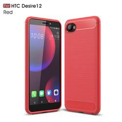 Luxury Carbon Fiber Brushed Wire Drawing Silicone TPU Back Cover for HTC Desire 12(5.5 inch) - Red
