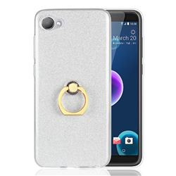 Luxury Soft TPU Glitter Back Ring Cover with 360 Rotate Finger Holder Buckle for HTC Desire 12(5.5 inch) - White