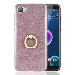 Luxury Soft TPU Glitter Back Ring Cover with 360 Rotate Finger Holder Buckle for HTC Desire 12(5.5 inch) - Pink
