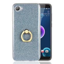 Luxury Soft TPU Glitter Back Ring Cover with 360 Rotate Finger Holder Buckle for HTC Desire 12(5.5 inch) - Blue