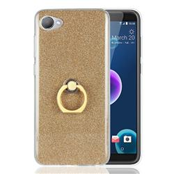 Luxury Soft TPU Glitter Back Ring Cover with 360 Rotate Finger Holder Buckle for HTC Desire 12(5.5 inch) - Golden