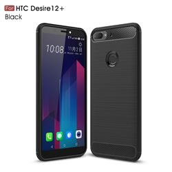 Luxury Carbon Fiber Brushed Wire Drawing Silicone TPU Back Cover for HTC Desire 12+ Plus (6.0 inch) - Black