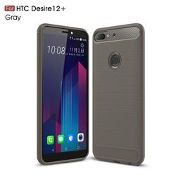 Luxury Carbon Fiber Brushed Wire Drawing Silicone TPU Back Cover for HTC Desire 12+ Plus (6.0 inch) - Gray