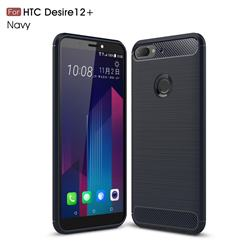 Luxury Carbon Fiber Brushed Wire Drawing Silicone TPU Back Cover for HTC Desire 12+ Plus (6.0 inch) - Navy