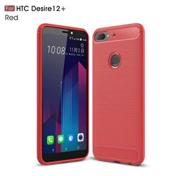 Luxury Carbon Fiber Brushed Wire Drawing Silicone TPU Back Cover for HTC Desire 12+ Plus (6.0 inch) - Red