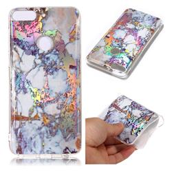 Gold Plating Marble Pattern Bright Color Laser Soft TPU Case for HTC Desire 12+ Plus (6.0 inch)
