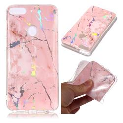 Powder Pink Marble Pattern Bright Color Laser Soft TPU Case for HTC Desire 12+ Plus (6.0 inch)