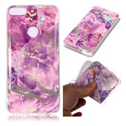 Purple Marble Pattern Bright Color Laser Soft TPU Case for HTC Desire 12+ Plus (6.0 inch)