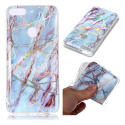 Light Blue Marble Pattern Bright Color Laser Soft TPU Case for HTC Desire 12+ Plus (6.0 inch)