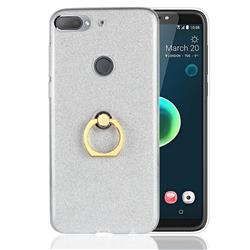 Luxury Soft TPU Glitter Back Ring Cover with 360 Rotate Finger Holder Buckle for HTC Desire 12+ Plus (6.0 inch) - White