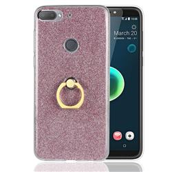 Luxury Soft TPU Glitter Back Ring Cover with 360 Rotate Finger Holder Buckle for HTC Desire 12+ Plus (6.0 inch) - Pink
