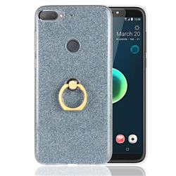 Luxury Soft TPU Glitter Back Ring Cover with 360 Rotate Finger Holder Buckle for HTC Desire 12+ Plus (6.0 inch) - Blue