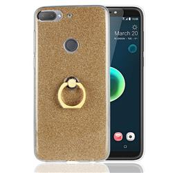 Luxury Soft TPU Glitter Back Ring Cover with 360 Rotate Finger Holder Buckle for HTC Desire 12+ Plus (6.0 inch) - Golden
