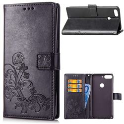 Embossing Imprint Four-Leaf Clover Leather Wallet Case for HTC Desire 12+ Plus (6.0 inch) - Black