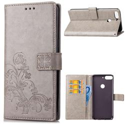 Embossing Imprint Four-Leaf Clover Leather Wallet Case for HTC Desire 12+ Plus (6.0 inch) - Grey