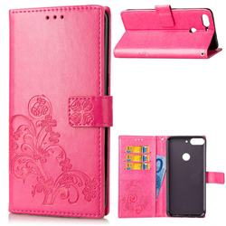 Embossing Imprint Four-Leaf Clover Leather Wallet Case for HTC Desire 12+ Plus (6.0 inch) - Rose