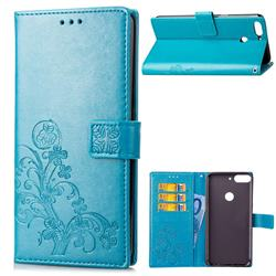 Embossing Imprint Four-Leaf Clover Leather Wallet Case for HTC Desire 12+ Plus (6.0 inch) - Blue