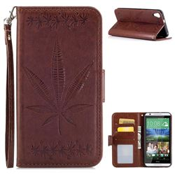 Intricate Embossing Maple Leather Wallet Case for HTC Desire 820 D820 - Brown