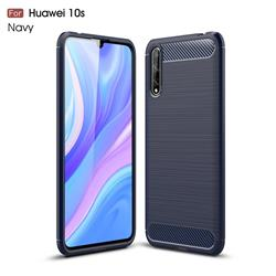 Luxury Carbon Fiber Brushed Wire Drawing Silicone TPU Back Cover for Huawei Enjoy 10s - Navy