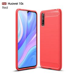 Luxury Carbon Fiber Brushed Wire Drawing Silicone TPU Back Cover for Huawei Enjoy 10s - Red
