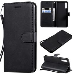Retro Greek Classic Smooth PU Leather Wallet Phone Case for Huawei Enjoy 10s - Black