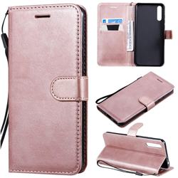 Retro Greek Classic Smooth PU Leather Wallet Phone Case for Huawei Enjoy 10s - Rose Gold