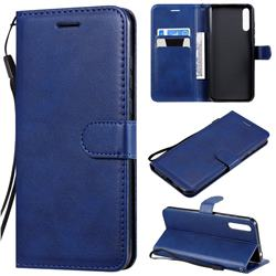 Retro Greek Classic Smooth PU Leather Wallet Phone Case for Huawei Enjoy 10s - Blue