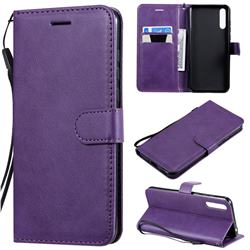 Retro Greek Classic Smooth PU Leather Wallet Phone Case for Huawei Enjoy 10s - Purple