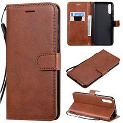 Retro Greek Classic Smooth PU Leather Wallet Phone Case for Huawei Enjoy 10s - Brown