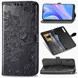 Embossing Imprint Mandala Flower Leather Wallet Case for Huawei Enjoy 10s - Black