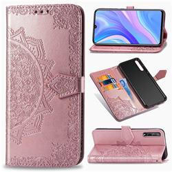 Embossing Imprint Mandala Flower Leather Wallet Case for Huawei Enjoy 10s - Rose Gold
