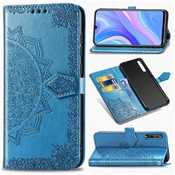 Embossing Imprint Mandala Flower Leather Wallet Case for Huawei Enjoy 10s - Blue