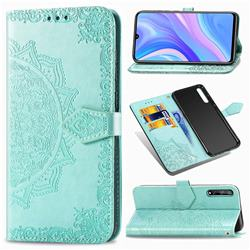 Embossing Imprint Mandala Flower Leather Wallet Case for Huawei Enjoy 10s - Green