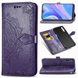 Embossing Imprint Mandala Flower Leather Wallet Case for Huawei Enjoy 10s - Purple
