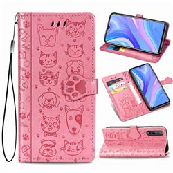 Embossing Dog Paw Kitten and Puppy Leather Wallet Case for Huawei Enjoy 10s - Pink