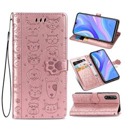 Embossing Dog Paw Kitten and Puppy Leather Wallet Case for Huawei Enjoy 10s - Rose Gold