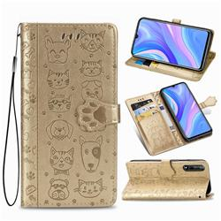 Embossing Dog Paw Kitten and Puppy Leather Wallet Case for Huawei Enjoy 10s - Champagne Gold