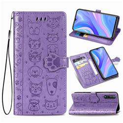Embossing Dog Paw Kitten and Puppy Leather Wallet Case for Huawei Enjoy 10s - Purple