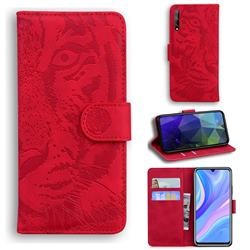 Intricate Embossing Tiger Face Leather Wallet Case for Huawei Enjoy 10s - Red