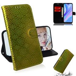 Laser Circle Shining Leather Wallet Phone Case for Huawei Enjoy 10s - Golden