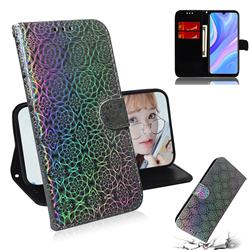 Laser Circle Shining Leather Wallet Phone Case for Huawei Enjoy 10s - Silver