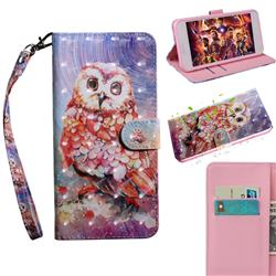 Colored Owl 3D Painted Leather Wallet Case for Huawei Enjoy 10s