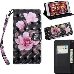 Black Powder Flower 3D Painted Leather Wallet Case for Huawei Enjoy 10s