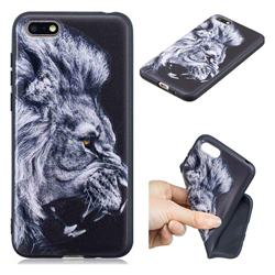 Lion 3D Embossed Relief Black TPU Cell Phone Back Cover for Huawei Enjoy 8E