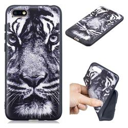 White Tiger 3D Embossed Relief Black TPU Cell Phone Back Cover for Huawei Enjoy 8E