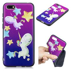 Pony 3D Embossed Relief Black TPU Cell Phone Back Cover for Huawei Enjoy 8E