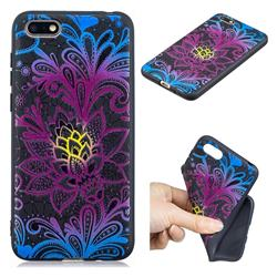 Colorful Lace 3D Embossed Relief Black TPU Cell Phone Back Cover for Huawei Enjoy 8E