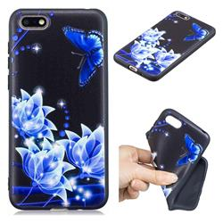 Blue Butterfly 3D Embossed Relief Black TPU Cell Phone Back Cover for Huawei Enjoy 8E